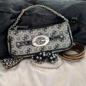 Guess Logo Clutch/Bag With Versatile Chain Handle